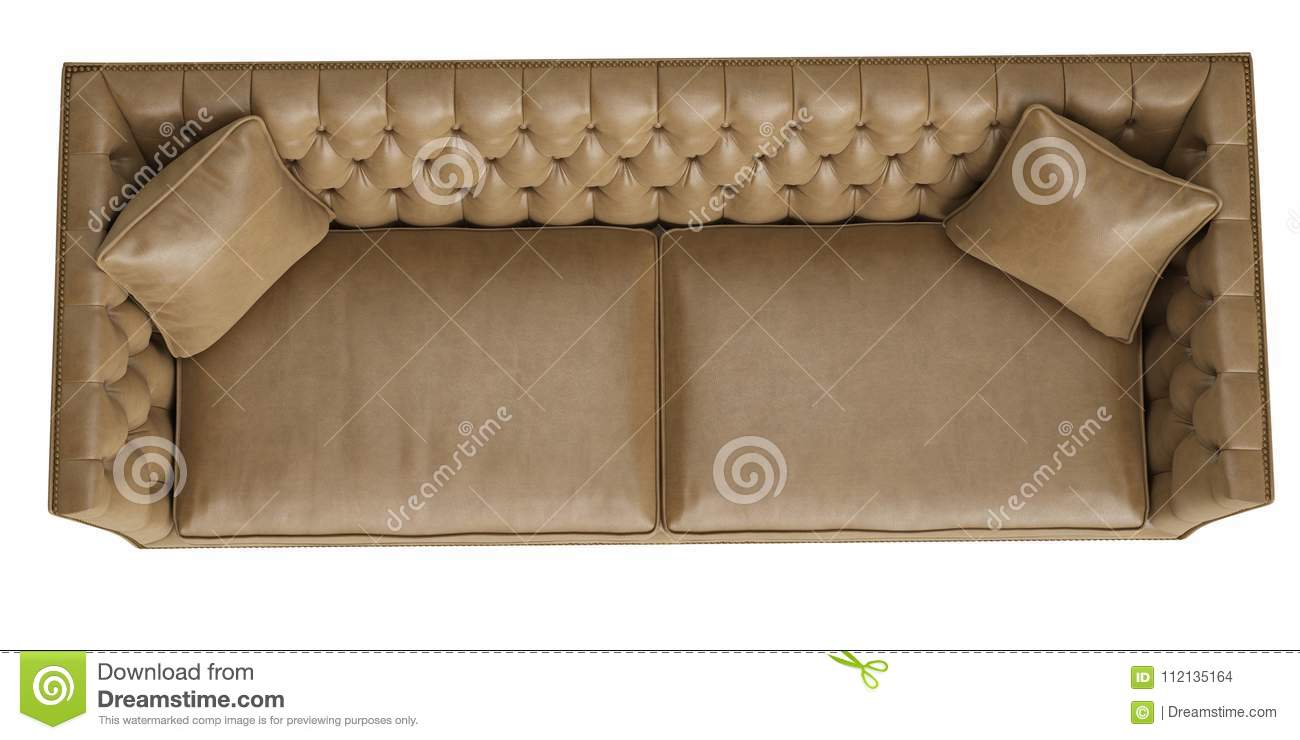 Classic Tufted Sofa Isolated On White Background Stock