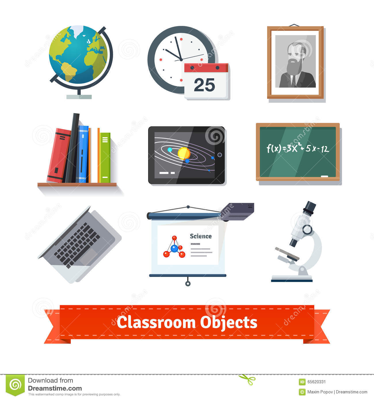 Classroom Objects Colourful Flat Icon Set Stock Vector