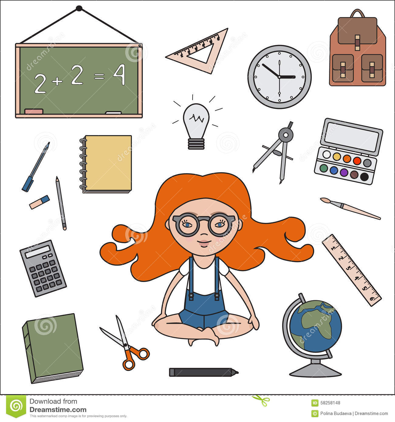 Classroom Objects Outline Icons Stock Vector