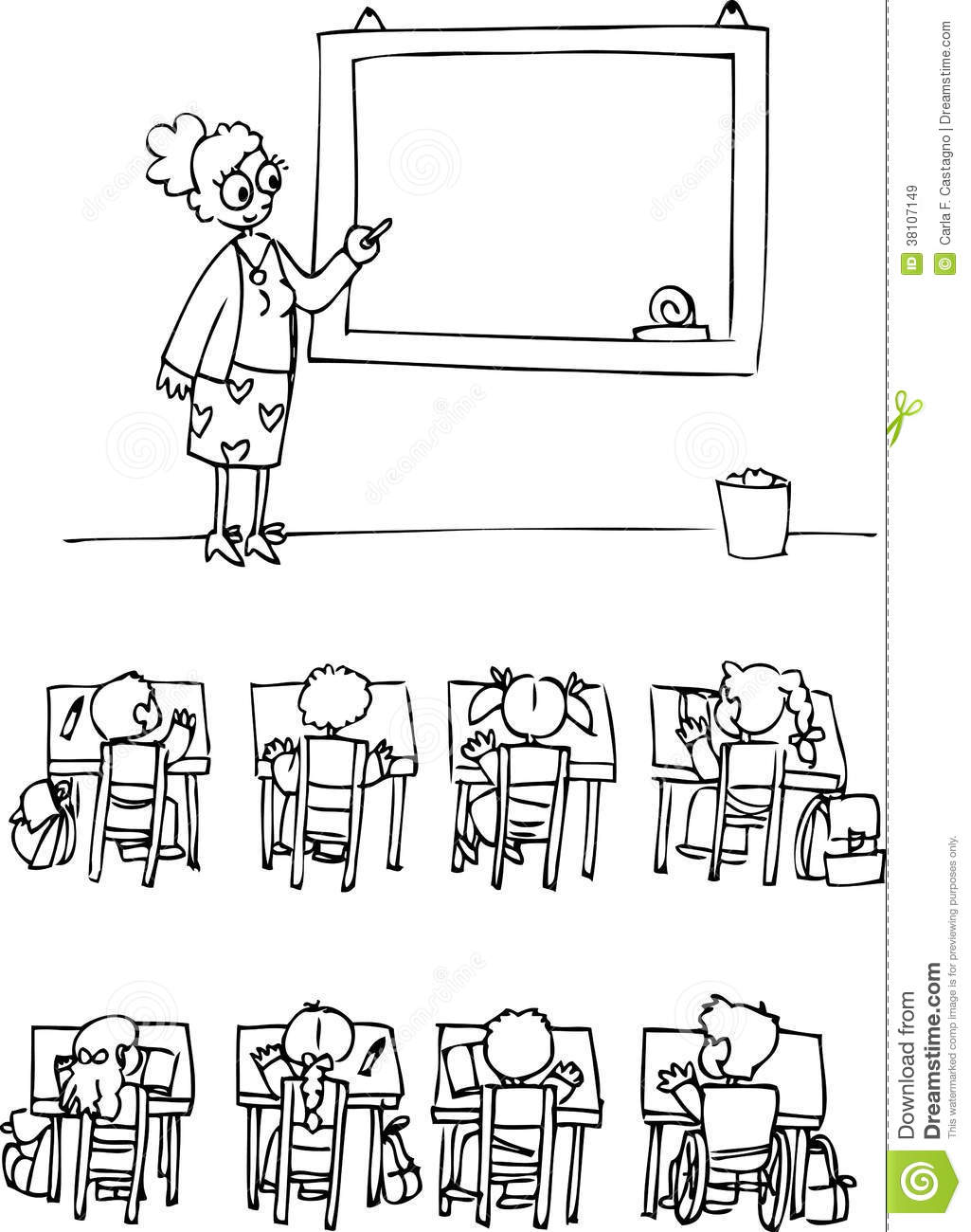 Coloring Classroom With Pupils Stock Vector
