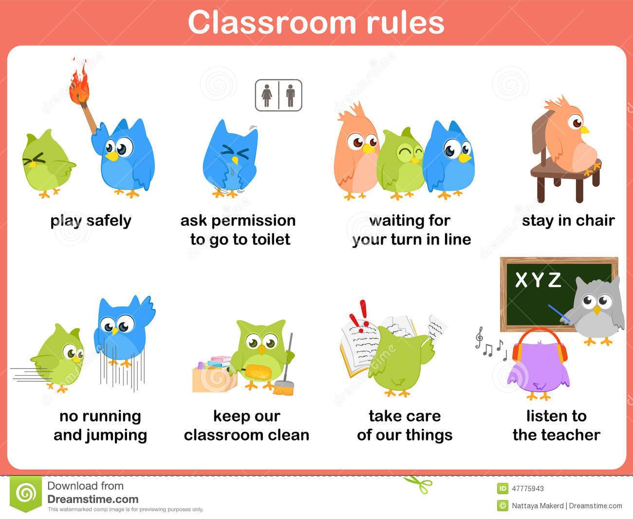 Classroom Rules For Kids Stock Vector Illustration Of