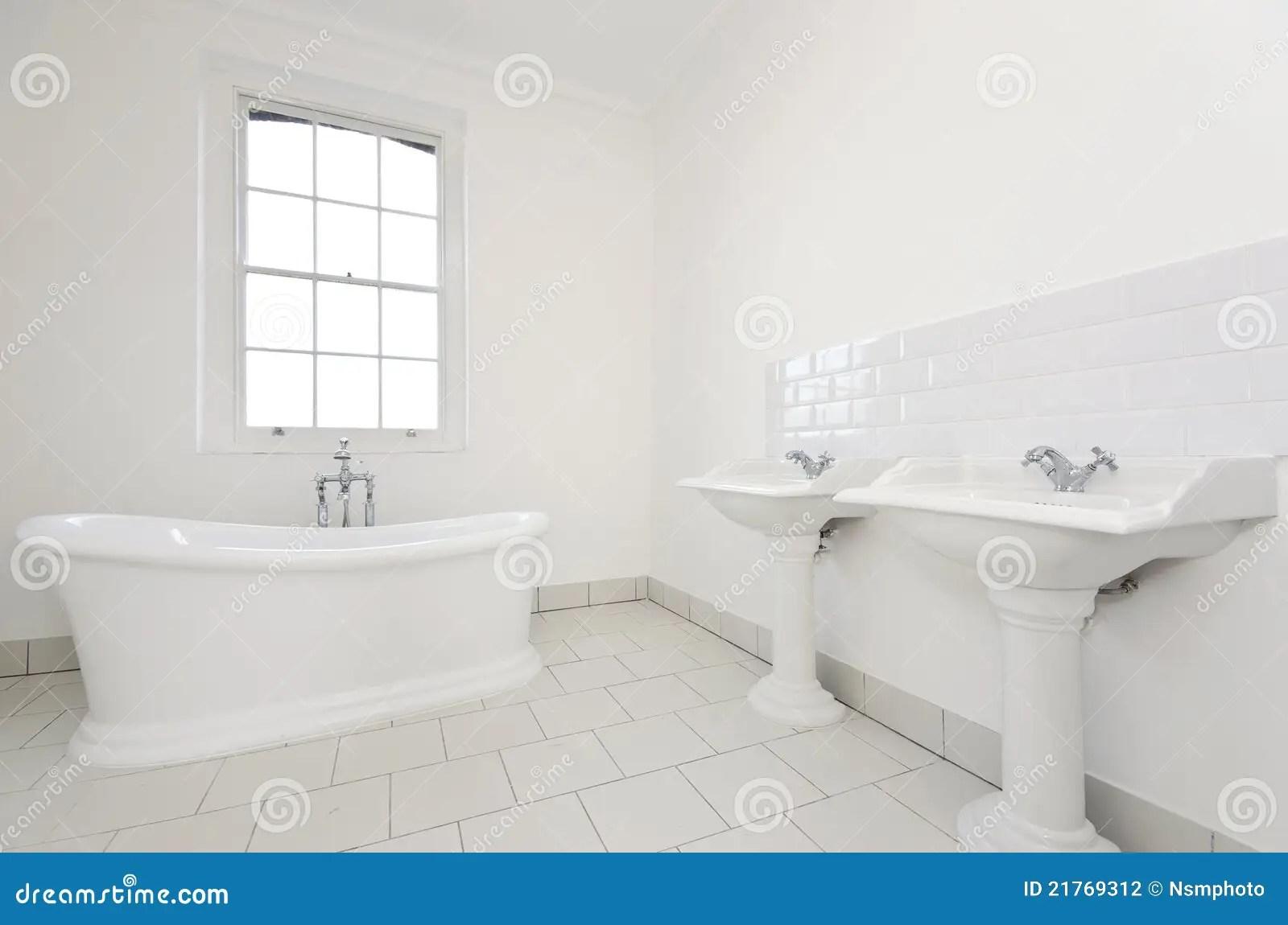 Classy Family Bathroom With Free Standing Bathtub Stock