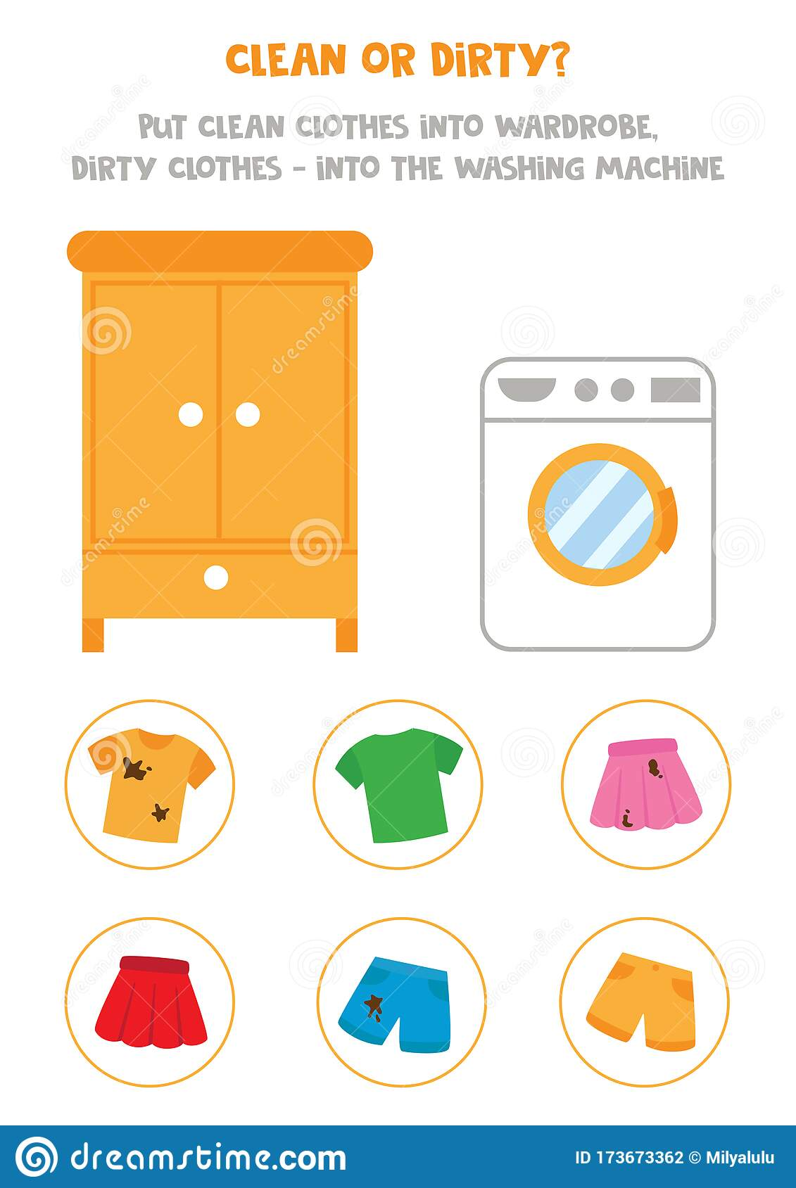 Sorting Game For Kids Clean Or Dirty Clothes Stock Vector
