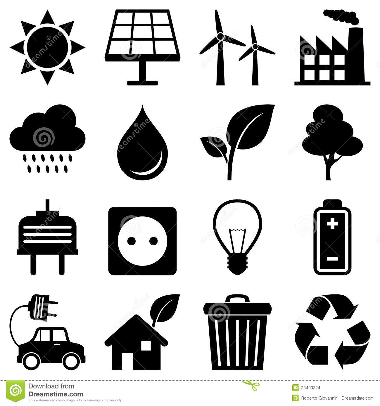 Clean Energy Environment Icons Stock Vector