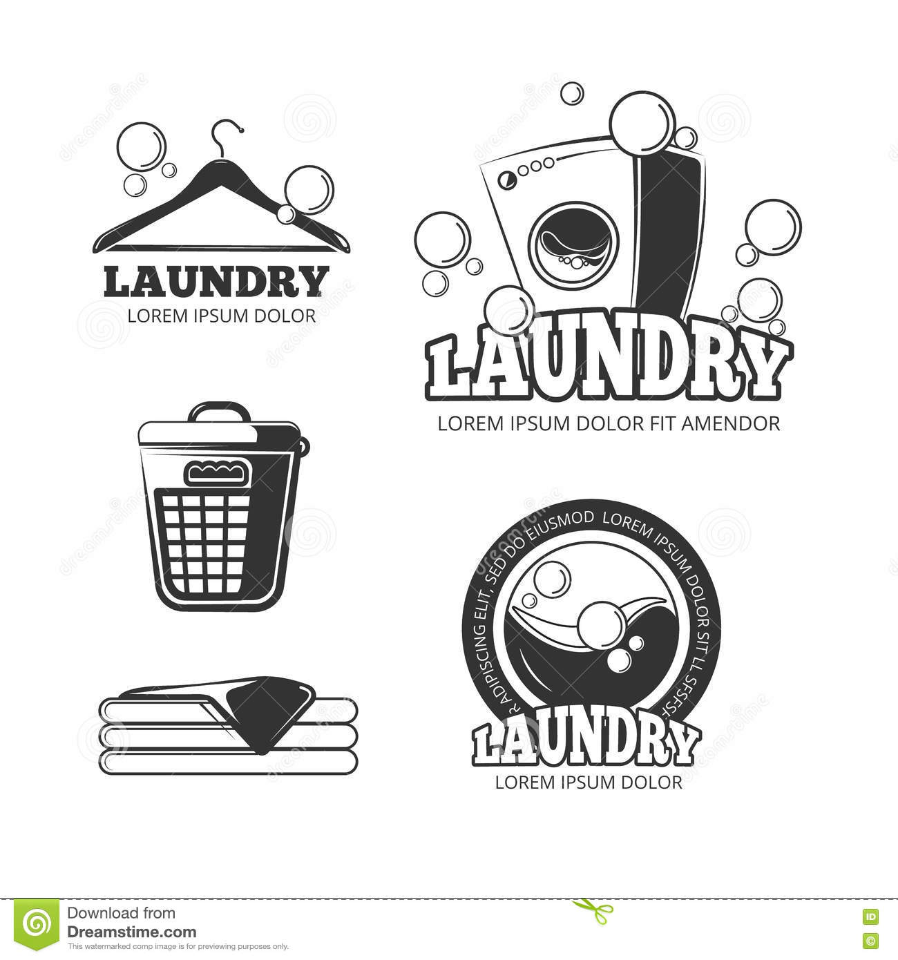 Clean Laundry Washing Vintage Vector Labels Emblems