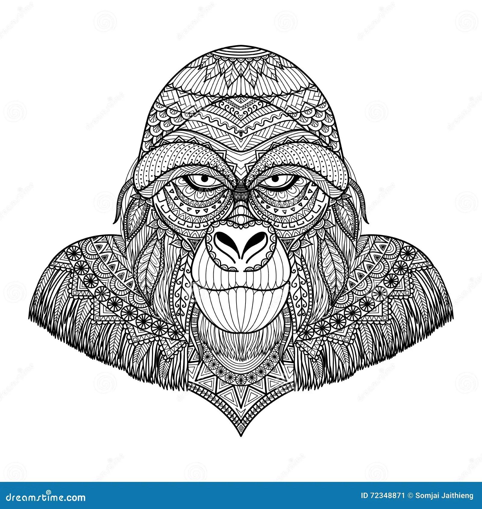 Clean Lines Doodle Design Of Gorilla Head For Adult