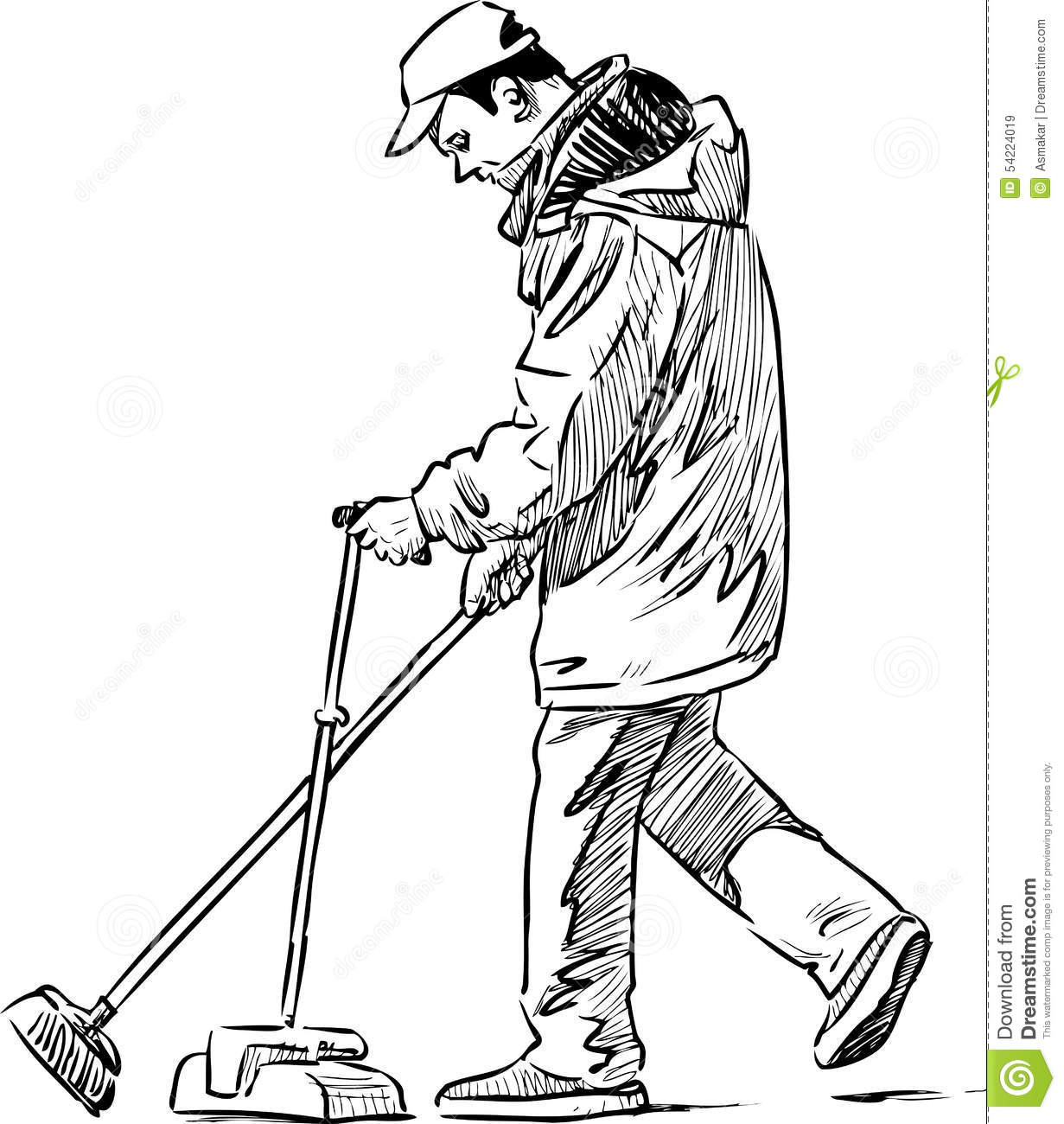 Cleaner On A City Street Stock Vector Illustration Of