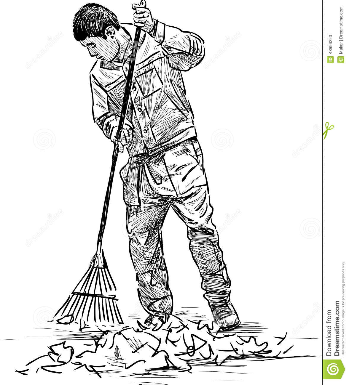 Cleaner In The Park Stock Vector Image Of Broom People