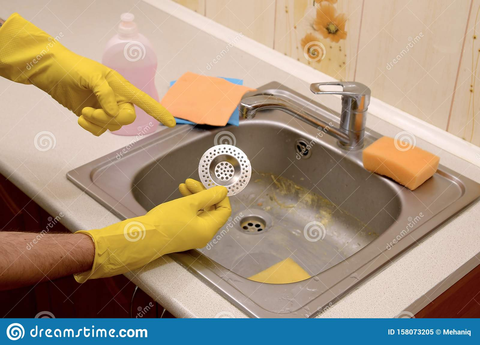 https www dreamstime com cleaner rubber gloves shows clean plughole protector kitchen sink cleaner rubber gloves shows clean plughole protector image158073205