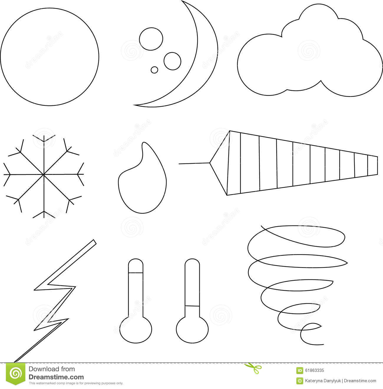 Clipart Black And White Weather Icons Stock Vector