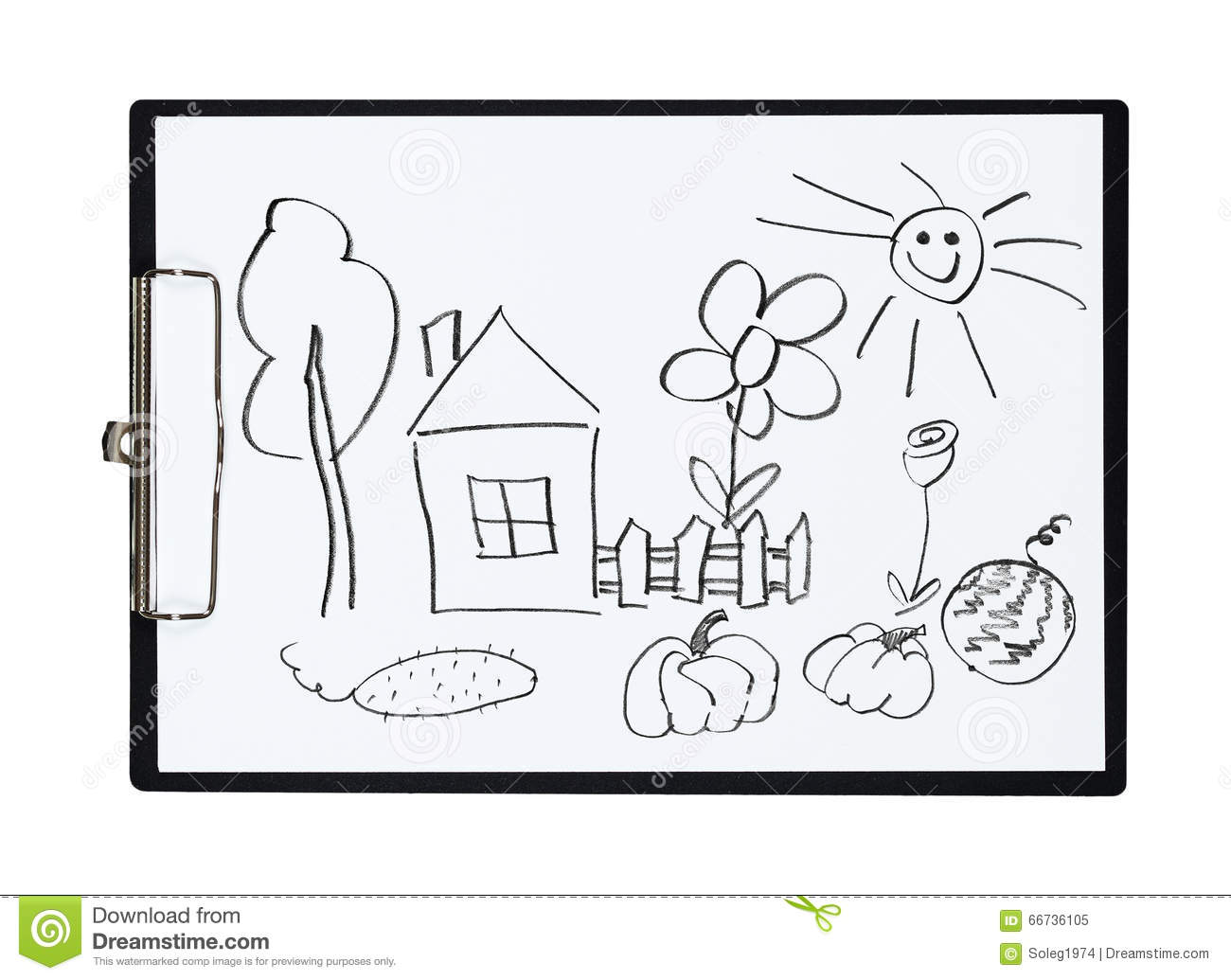 Clipboard And Paper Sheet With Pencil Drawing Rural House