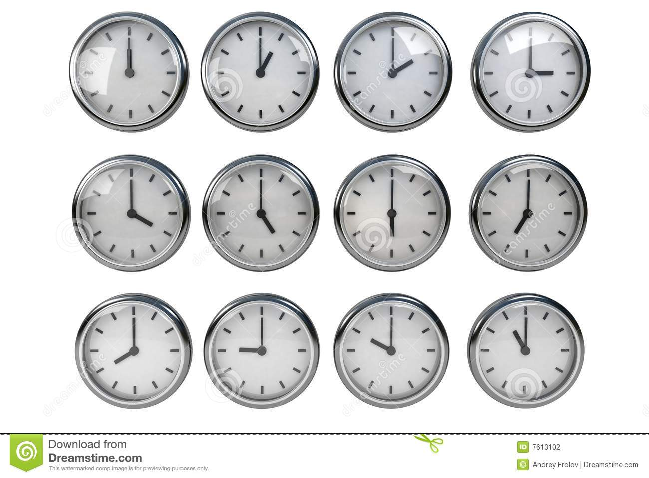 Clock Different Time Stock Photography