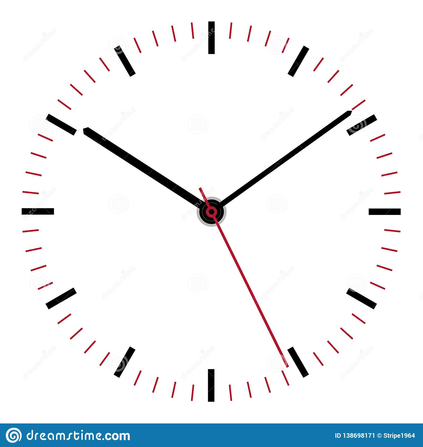 Clock Face Illustration Second Minute Hour Hands Stock