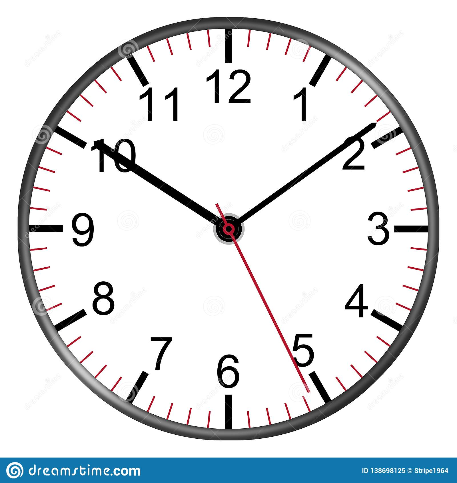 Clock Face With Numbers Illustration Second Minute Hour