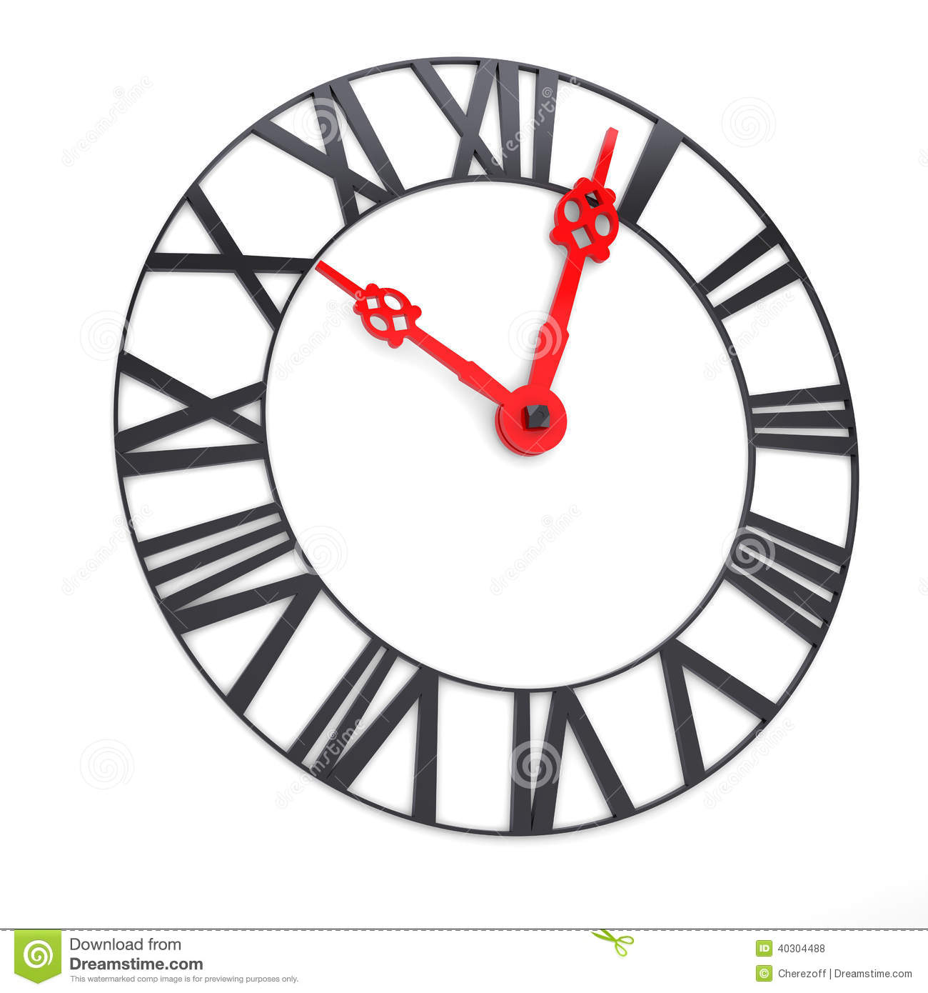 Clock Face With Roman Numerals Stock Photo
