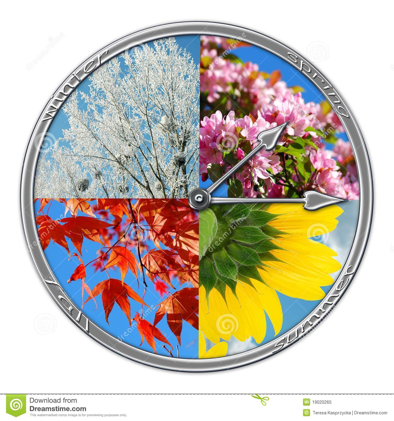 Clock With Four Seasons Of The Year Stock Image