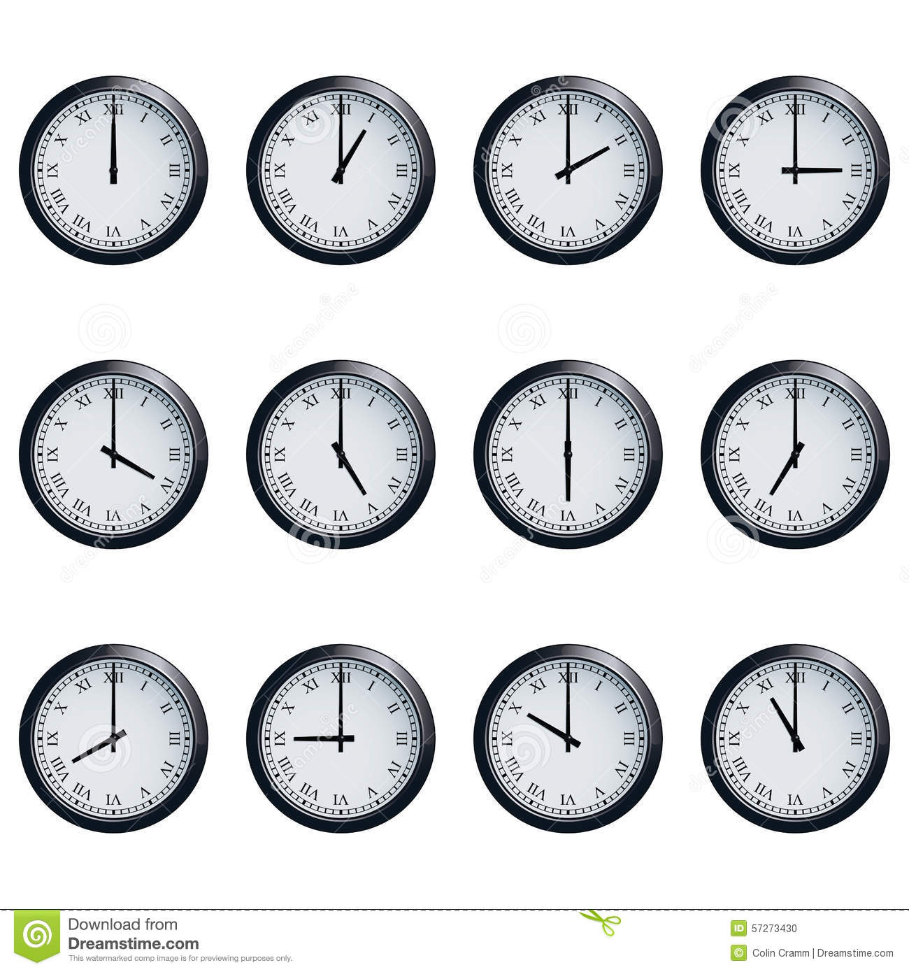 Clock Set With Roman Numerals Timed At Each Hour Stock Vector