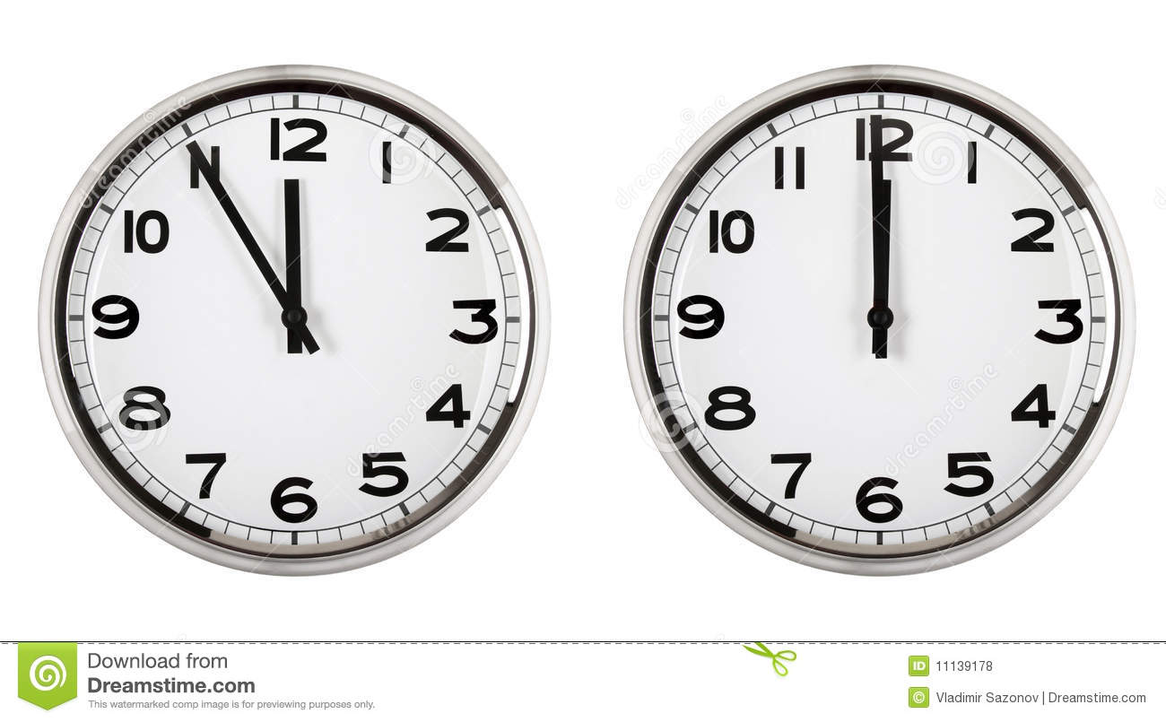 Clock Showing Time About Twelve New Year Stock Photo