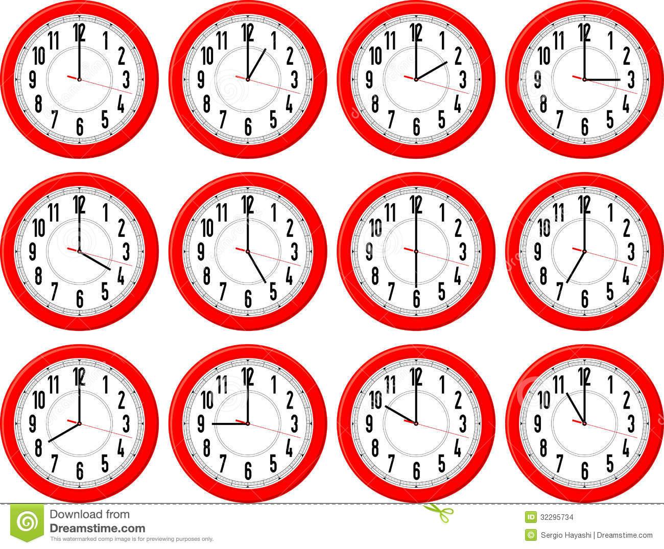 Clocks Different Times Stock Vector Illustration Of