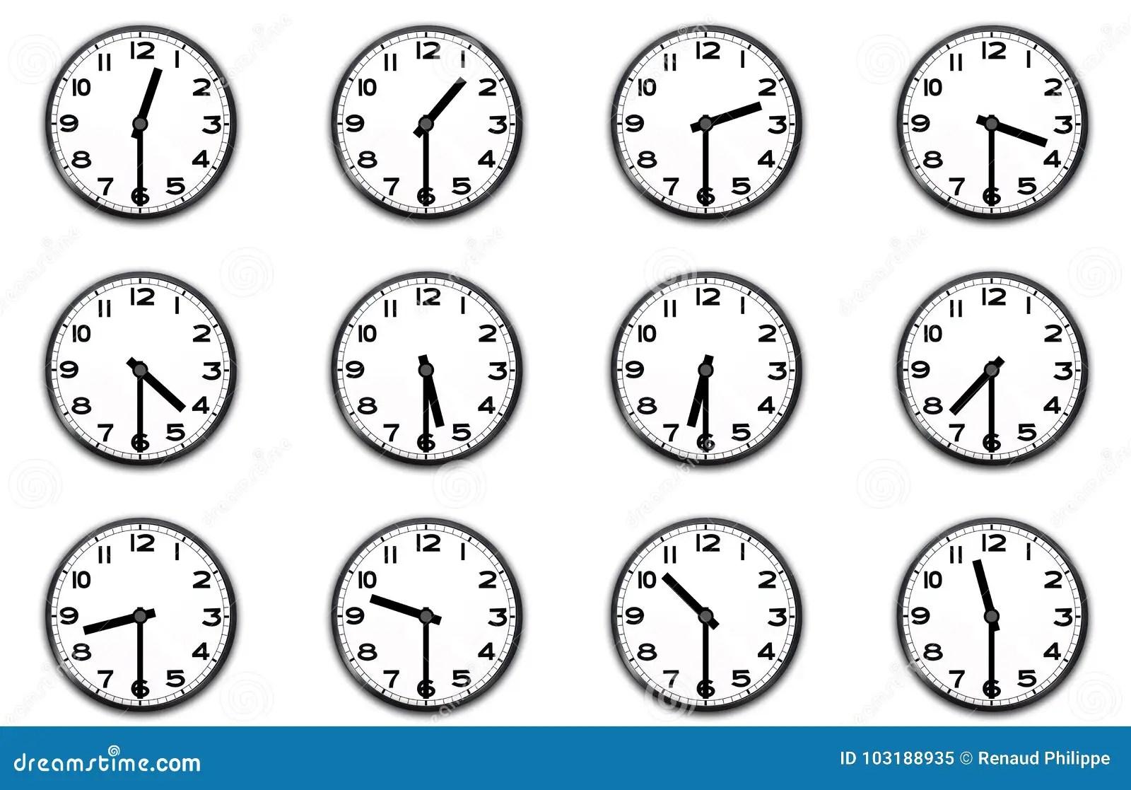 Clocks Indicating The Half Hour Stock Illustration