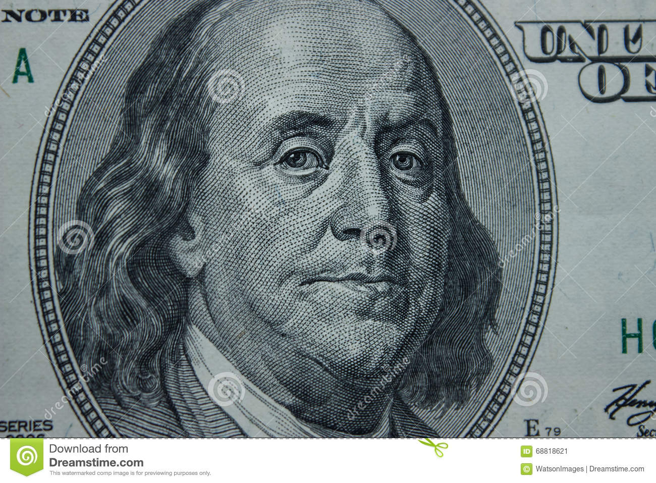 Close Up On Benjamin Franklin Stock Image