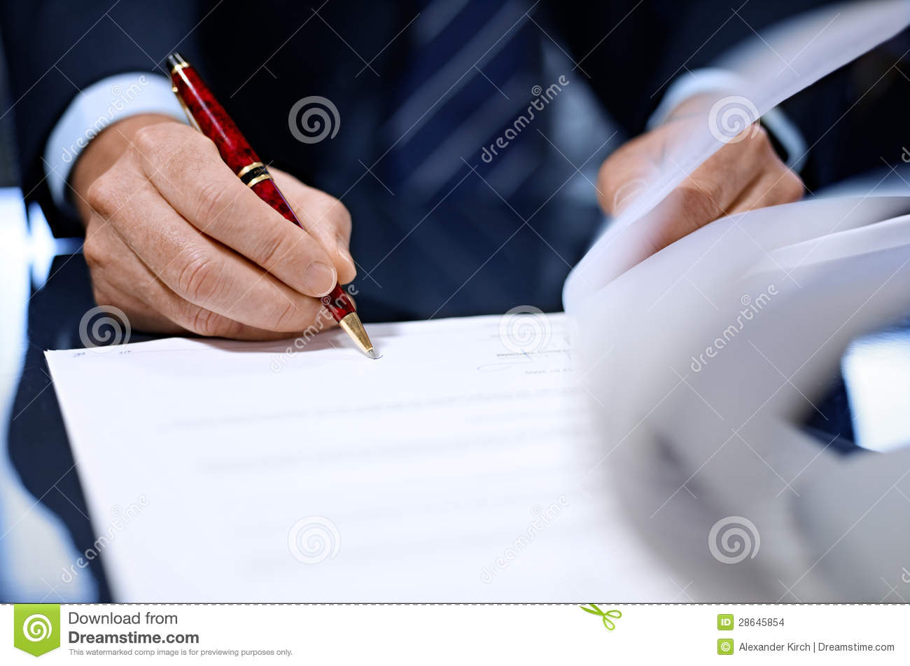 Businessman Signing Document Close Up Stock Photography