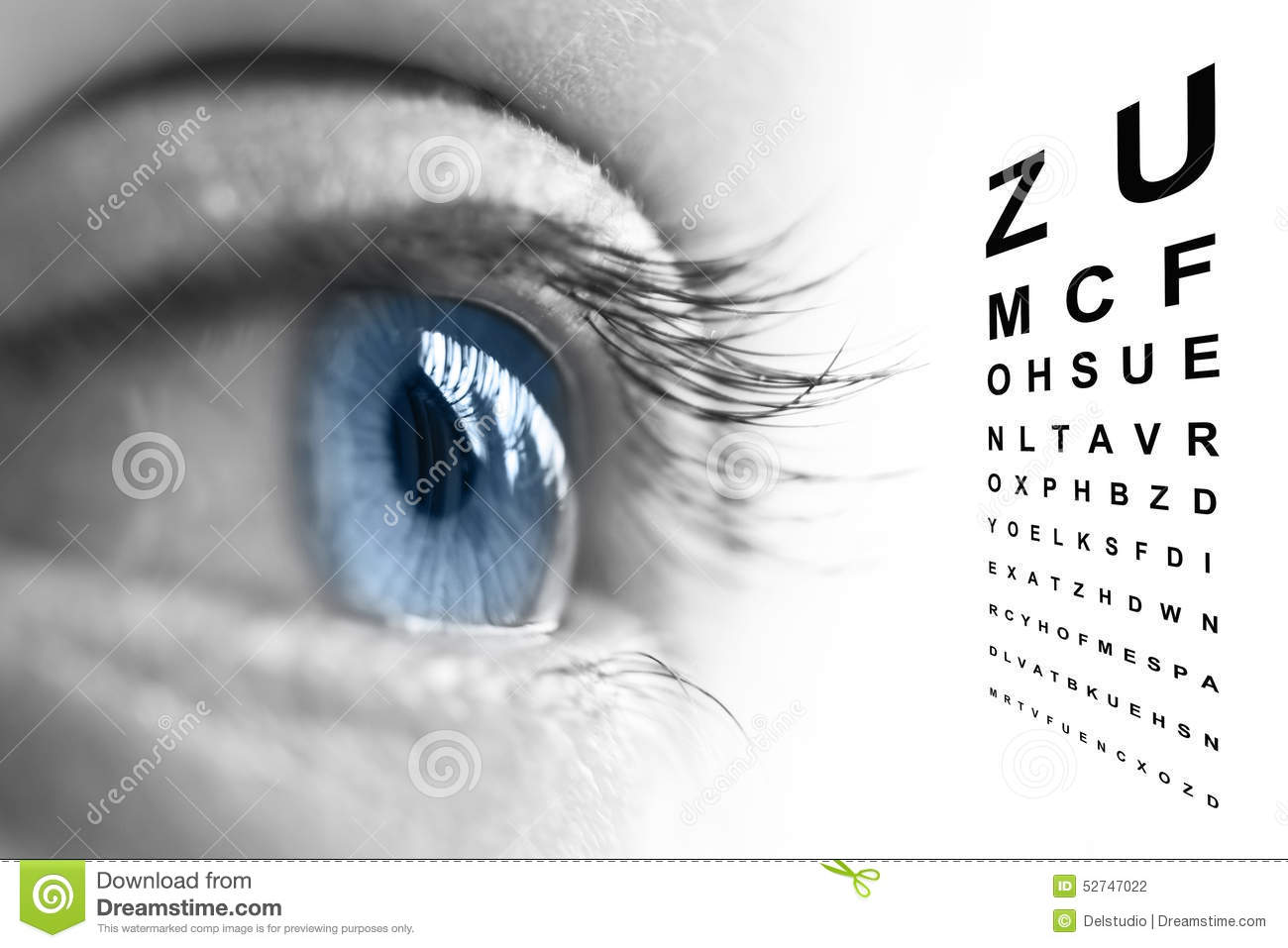 Close Up Of Eye And Vision Test Chart Stock Illustration