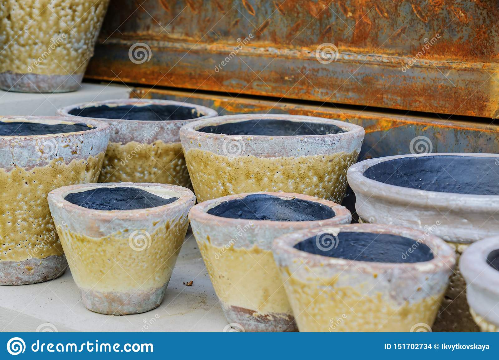 Close Up Of Plenty Empty Clay Flower Pots For Sale Garden And Interior Decoration Stock Photo Image Of Color Design 151702734