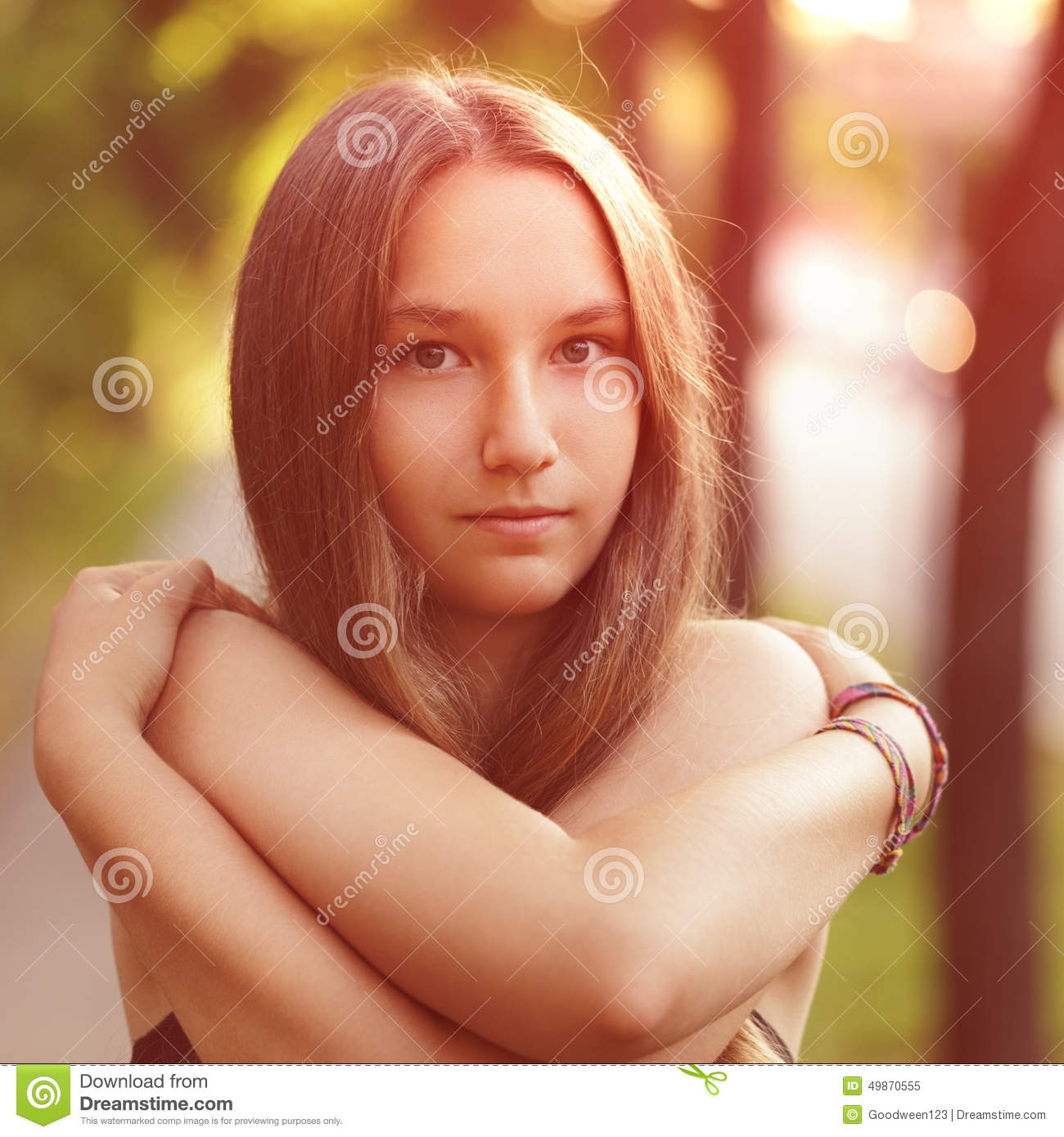 Close Up Portrait Of Teen Girl With Naked