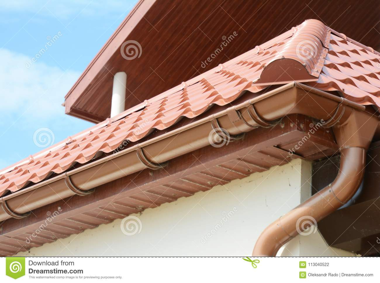 https www dreamstime com close up roof gutter holder guttering downspout pipe clay tiles roof installing roof gutter close up roof gutter image113040522
