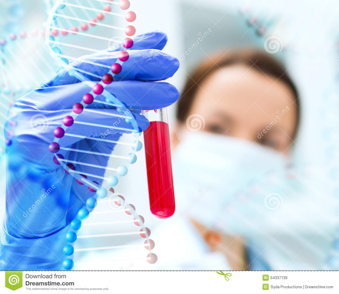 Close Up Of Scientist Holding Test Tube In Lab Stock Illustration
