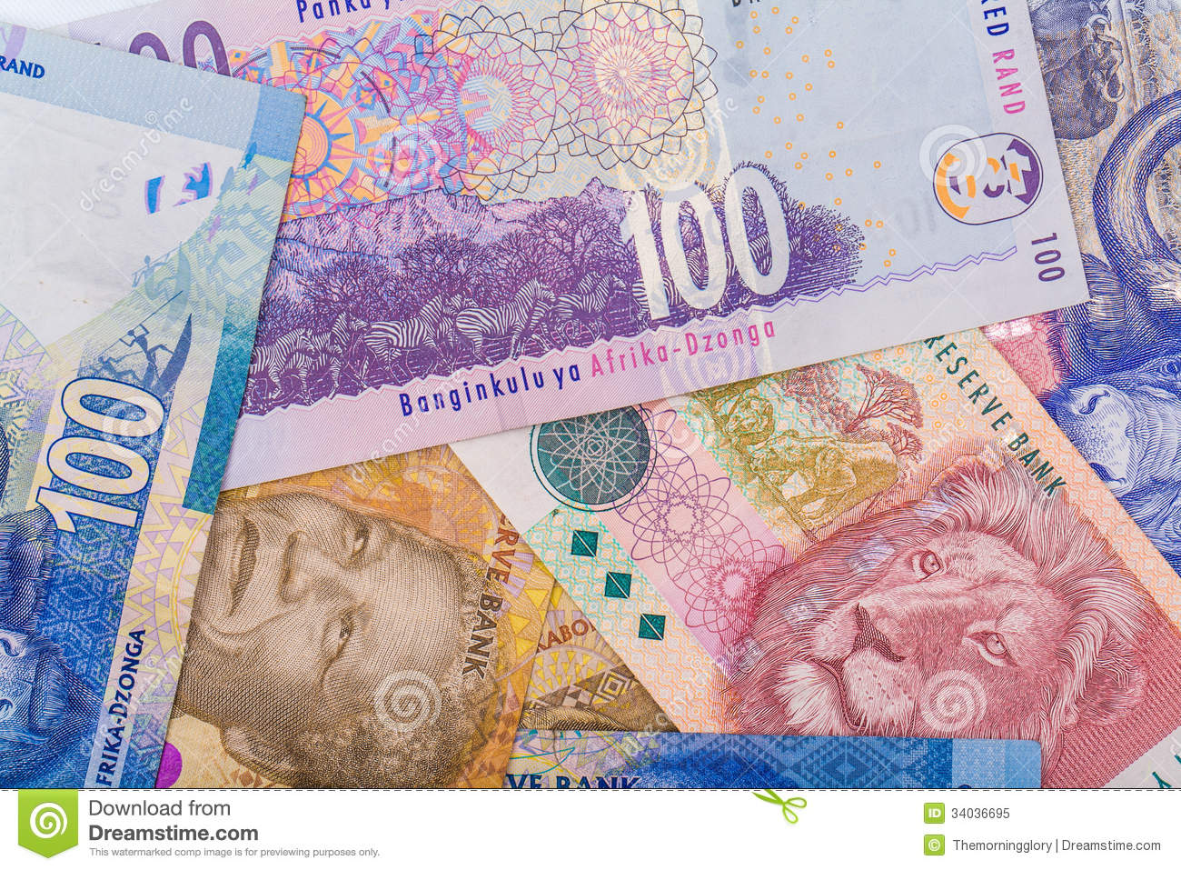 Close Up Of South African Currency The Rand Royalty Free