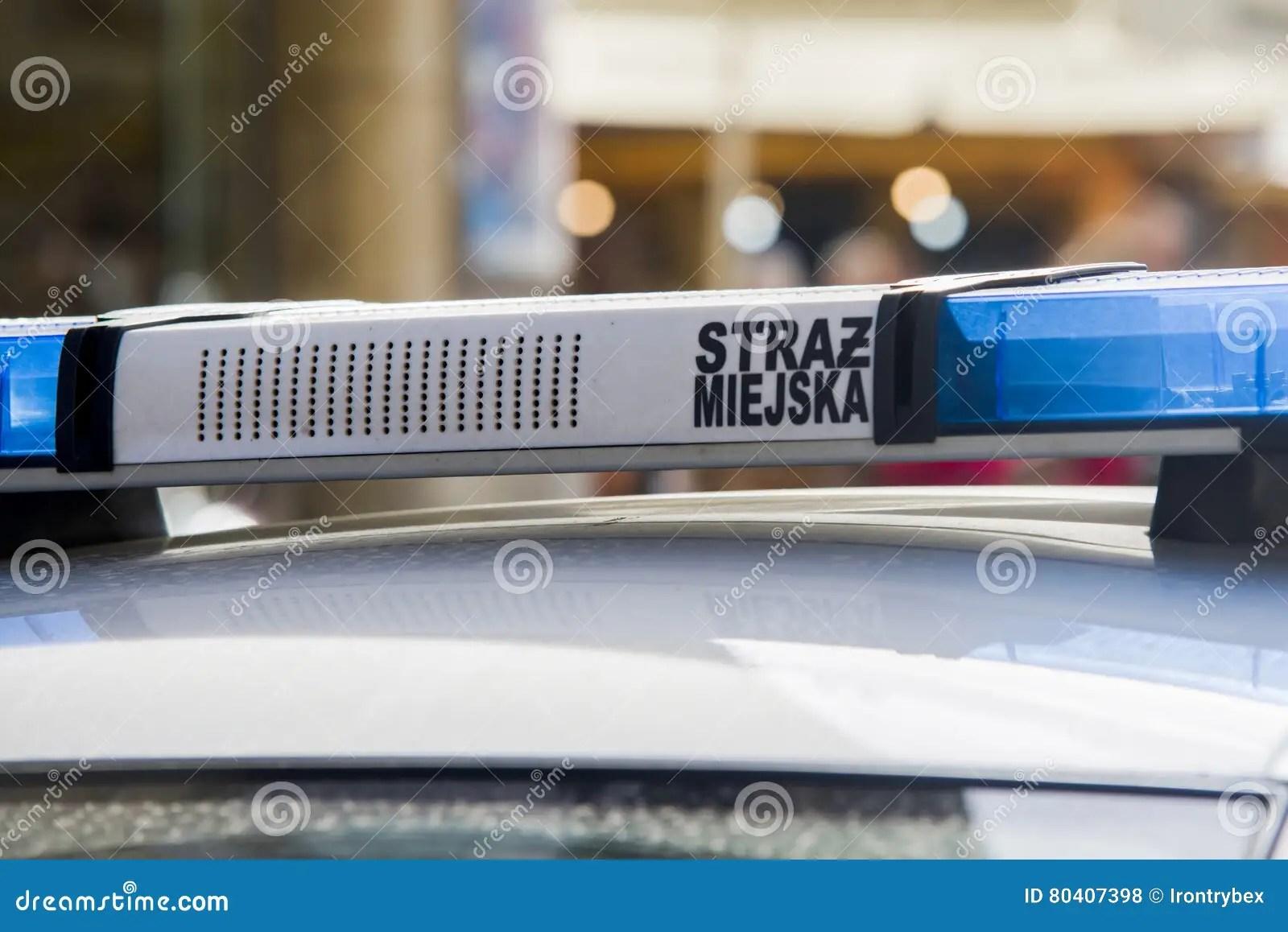 Close Up On Straz Miejska Municipal Police Sign On Car