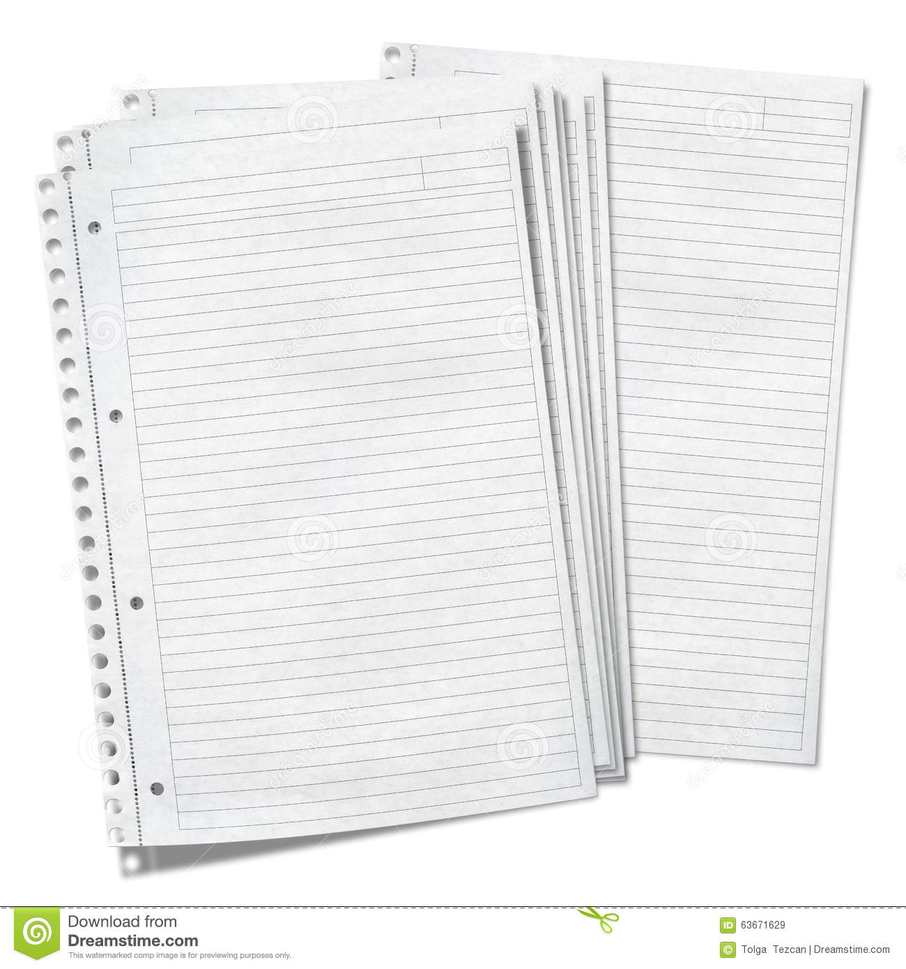 Close Up View Of Sheets Of Lined Paper Stock Photo