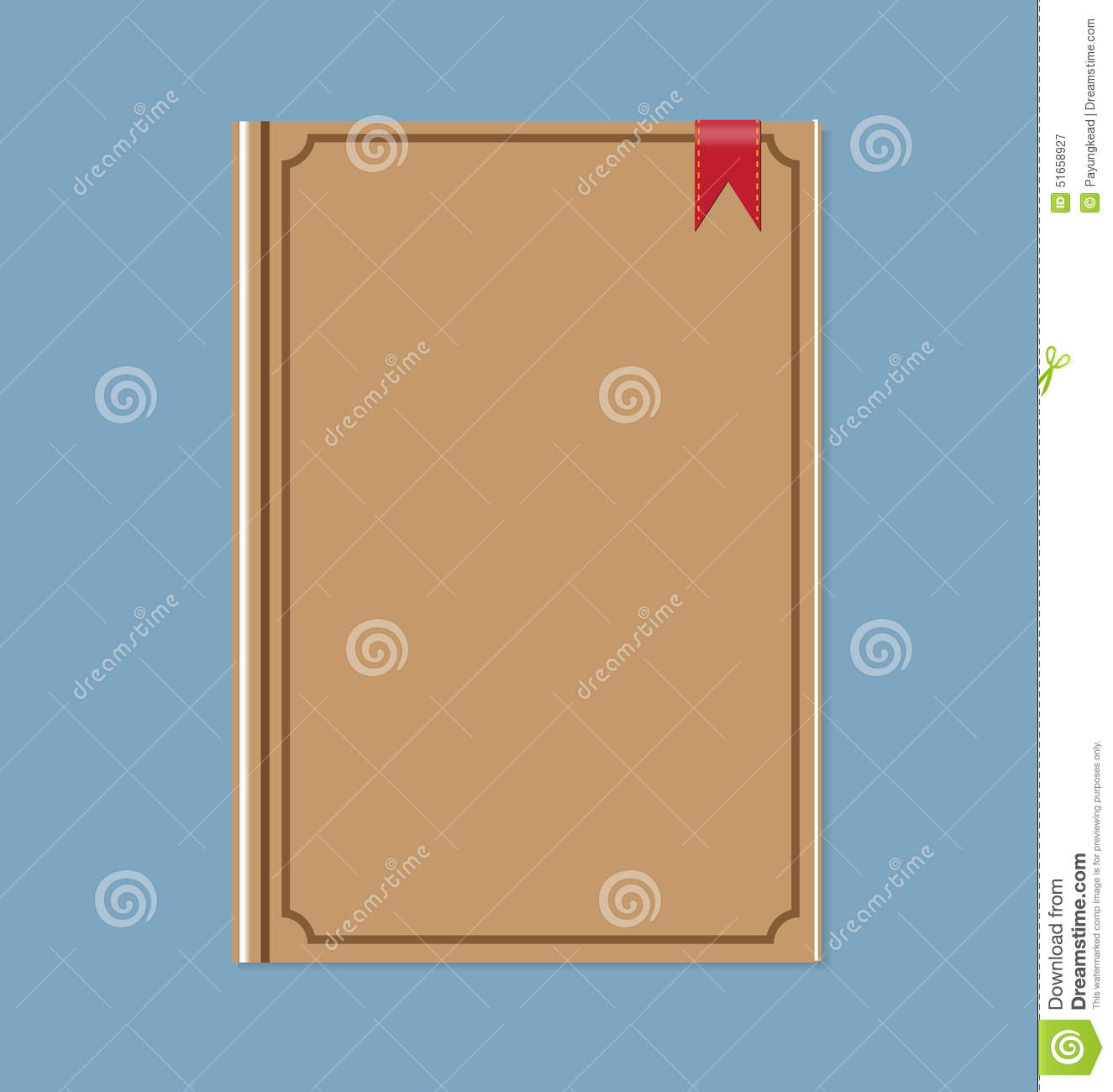 Closed Brown Book With Red Ribbon Bookmark Stock Vector