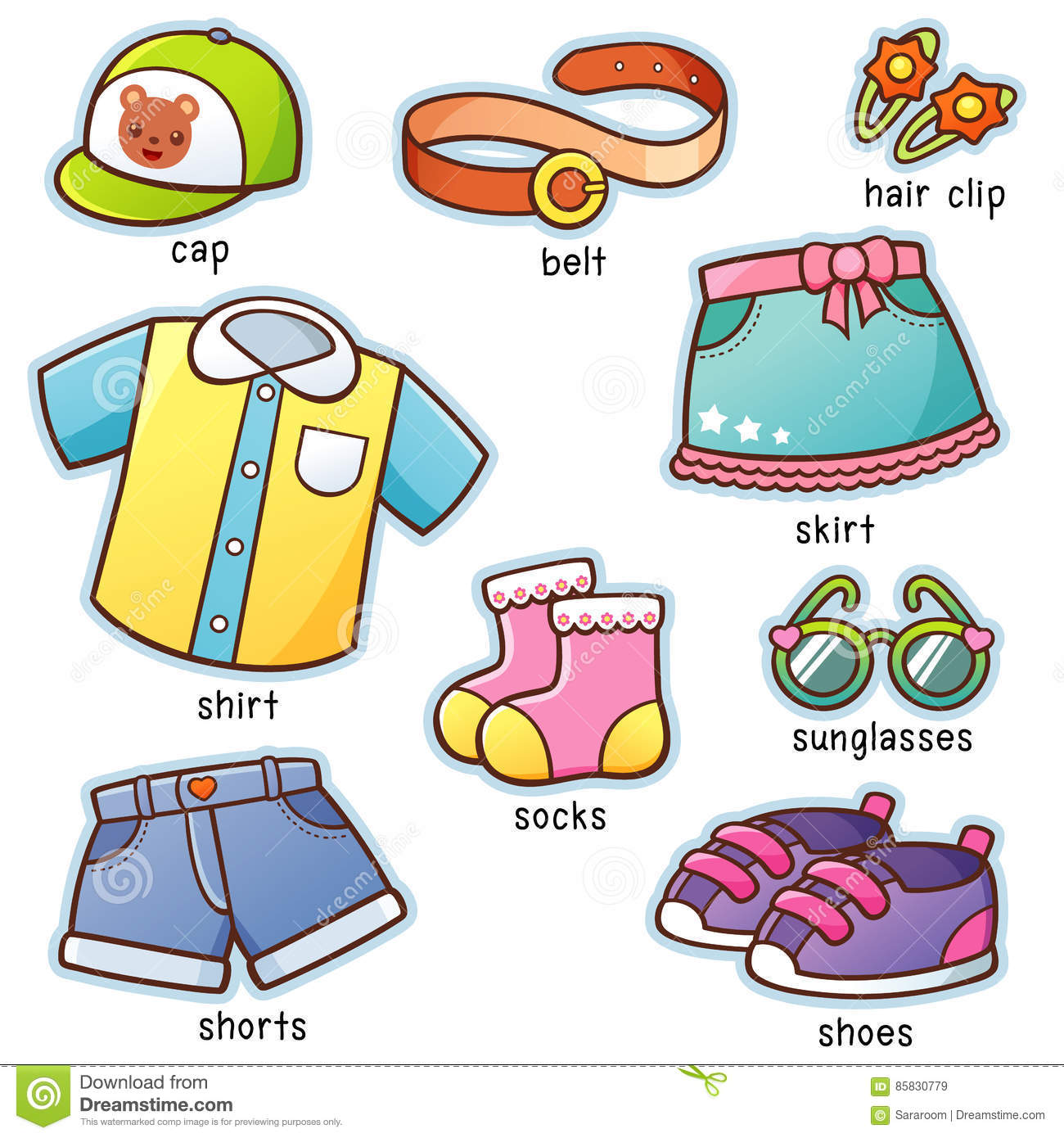 Clothes Stock Vector Illustration Of Shoes Shorts Clip