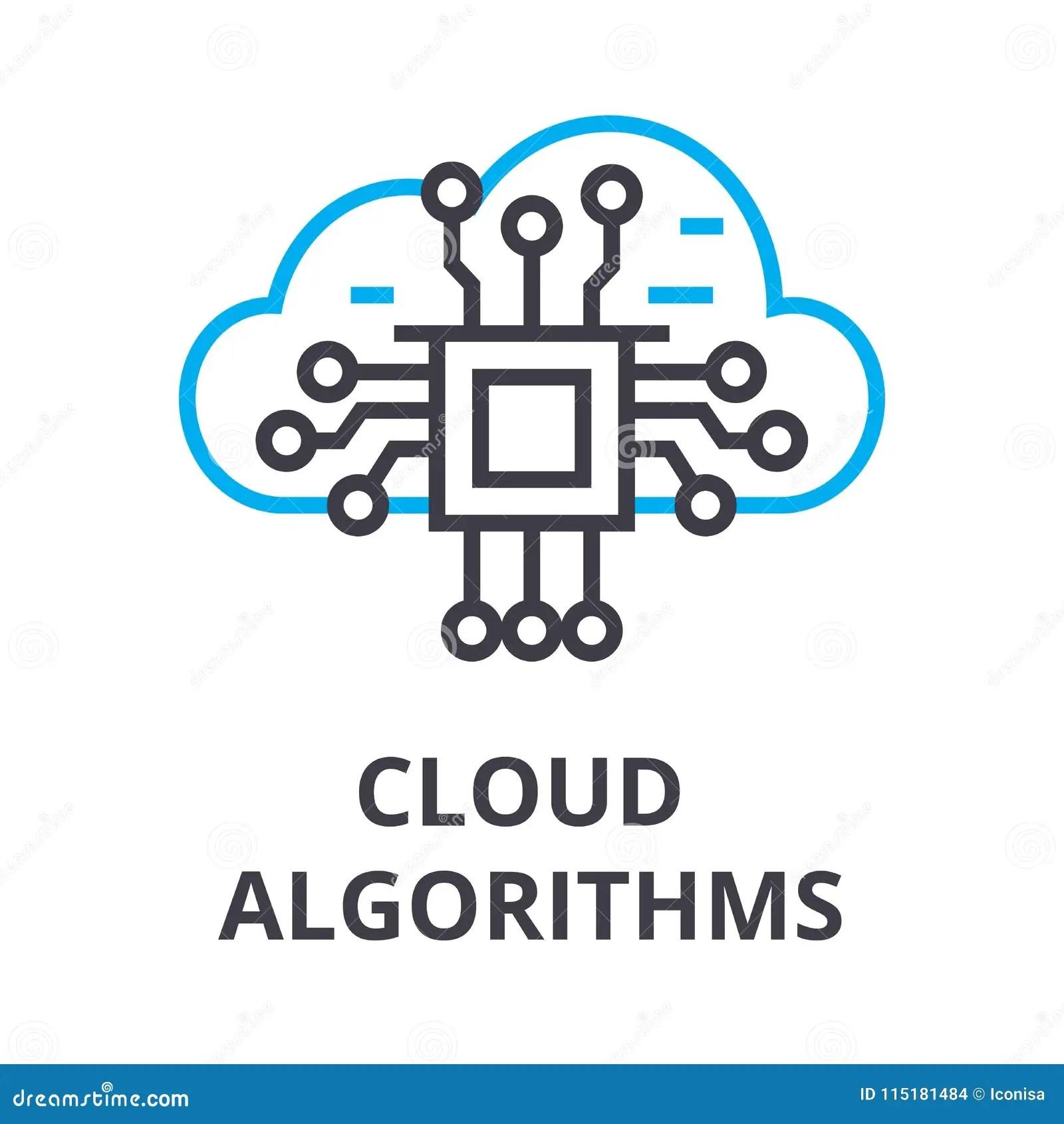 Cloud Algorithms Thin Line Icon Sign Symbol Illustation Linear Concept Vector Stock Vector