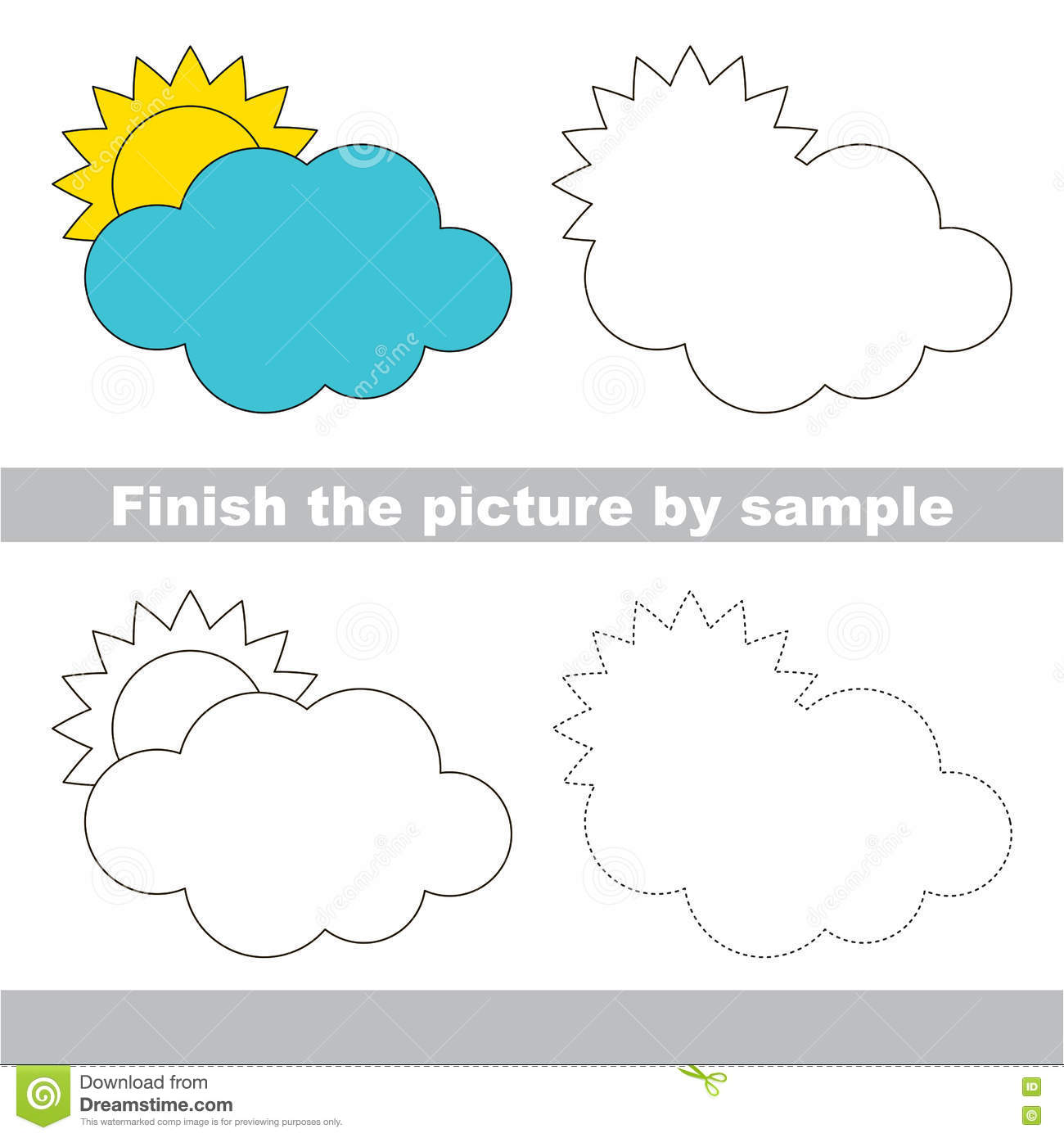 Cloud Drawing Worksheet Stock Vector Illustration Of