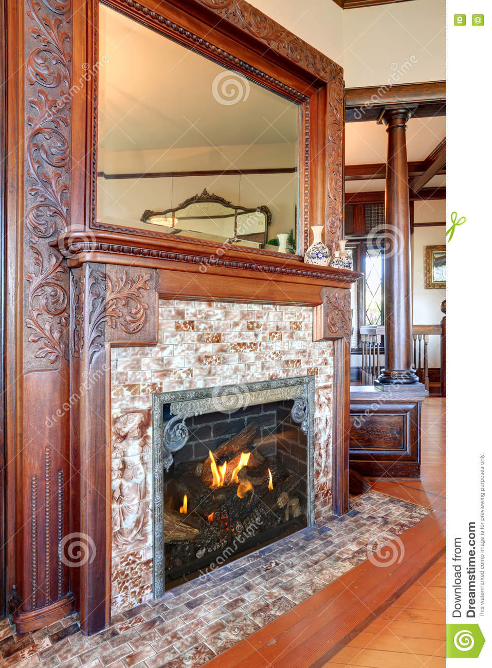 clouse up view of antique fireplace with decorative tile trim stock photo image of building luxury 74393922