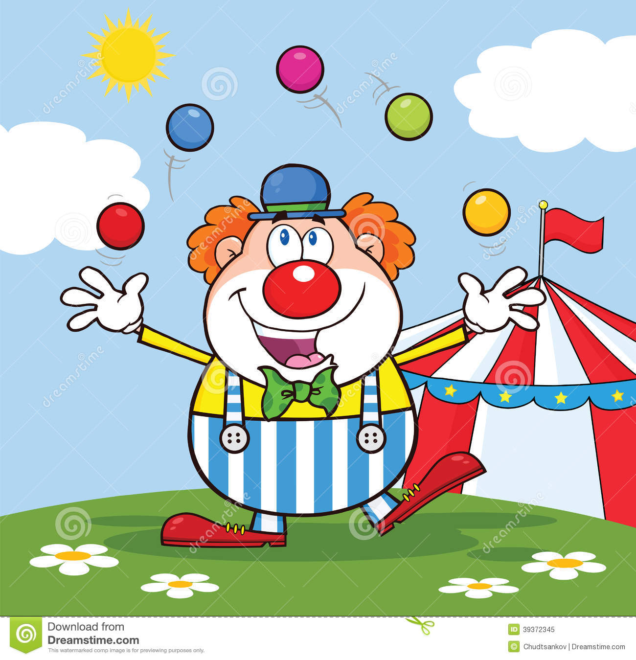 Clown Cartoon Character Juggling With Balls In Front Of Circus Tent Stock Illustration
