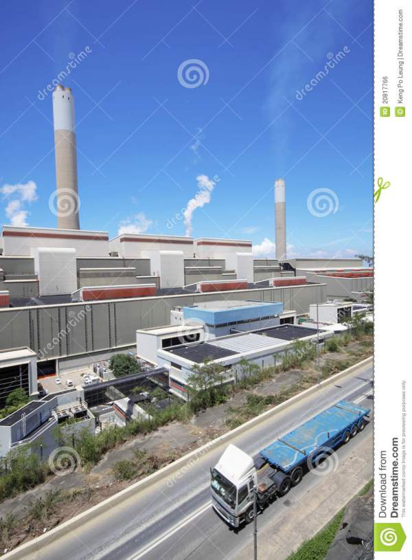 Coal Fired Power Station And Car Moving Royalty Free Stock ...