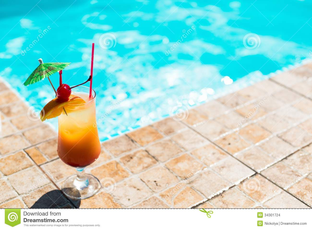 Cocktail Near The Swimming Pool Stock Images Image 34301724