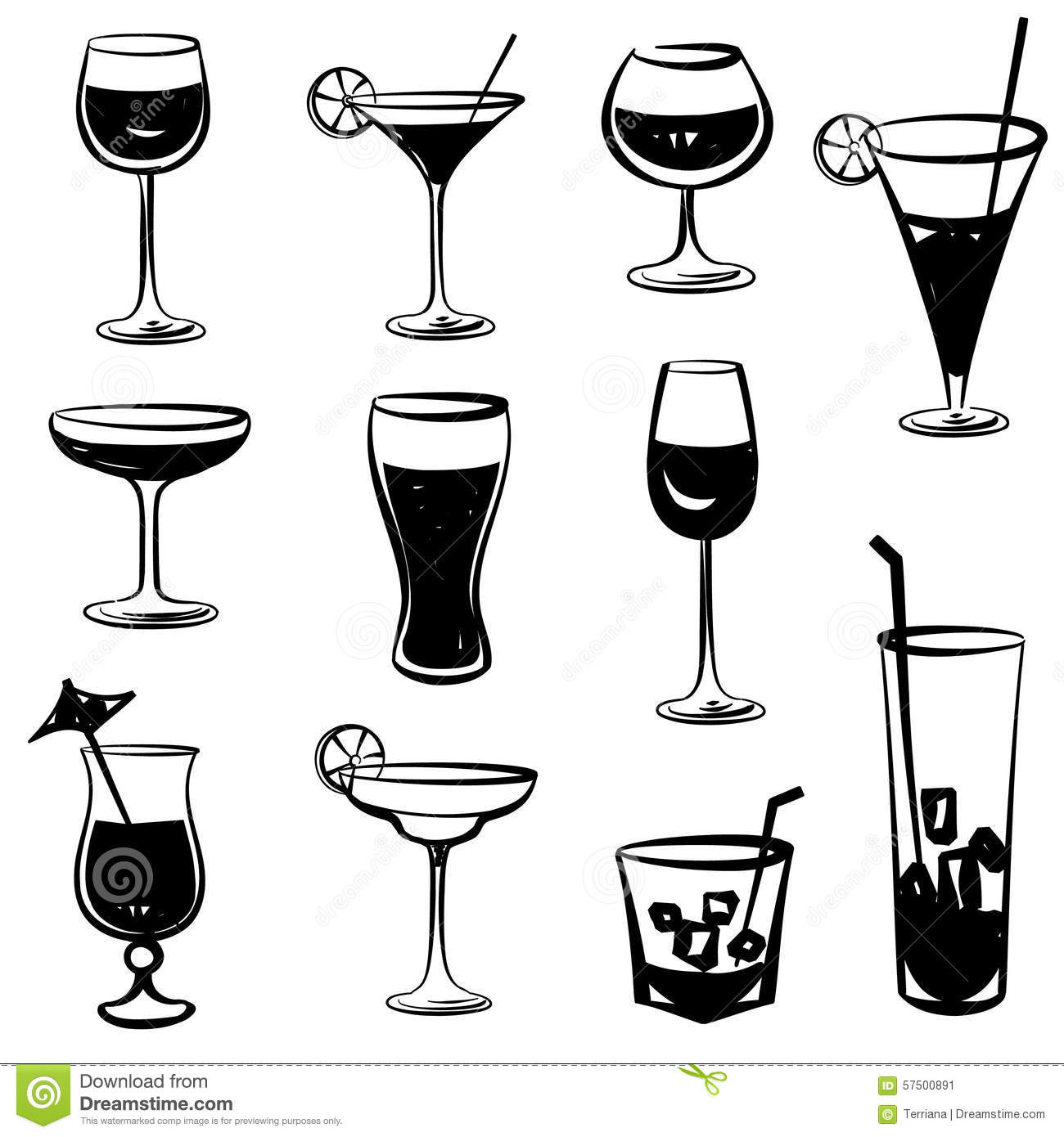 Cocktail Party Icons Glass Silhouette Collection Set Of