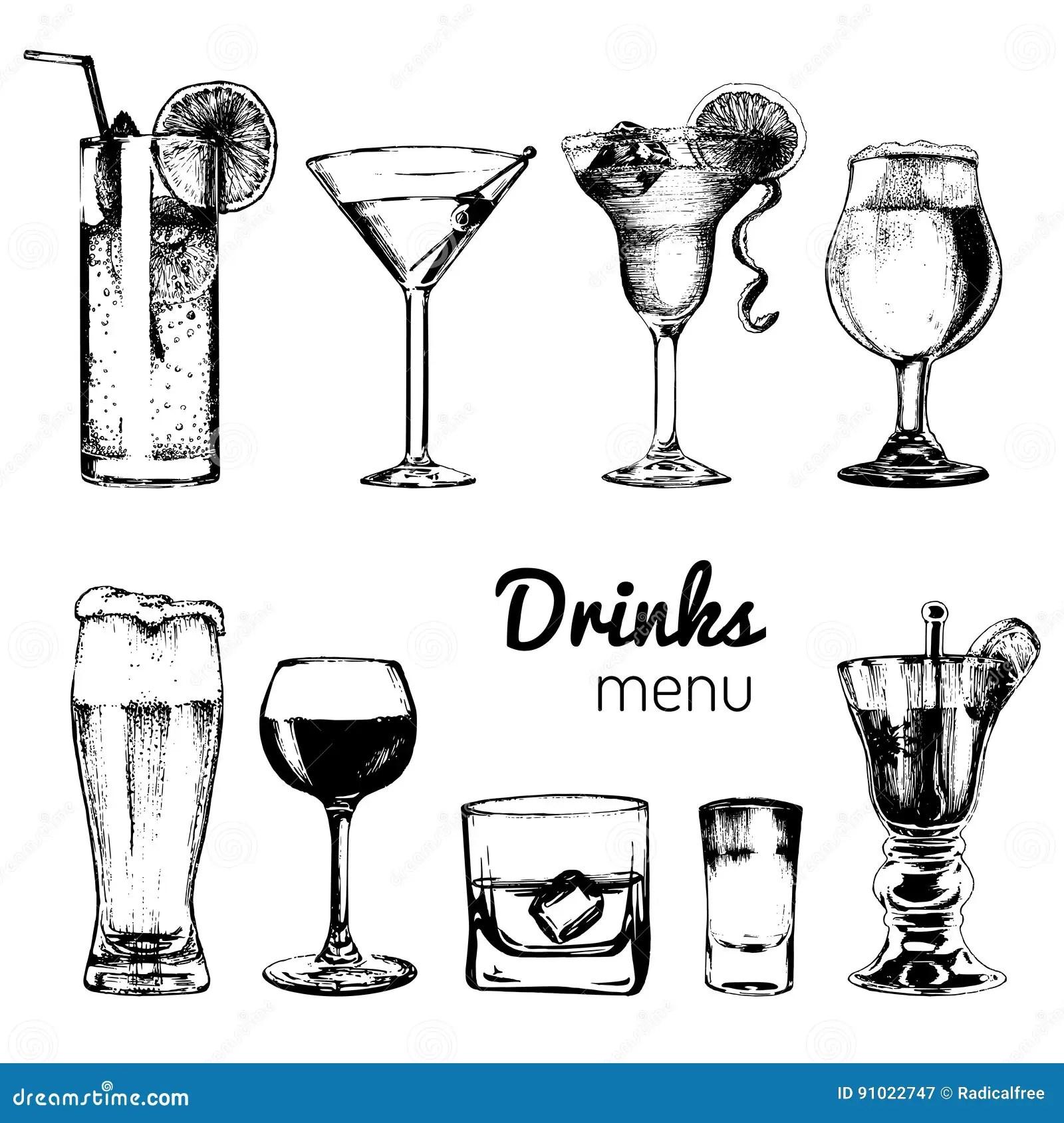 Cocktails Boissons Et Verres Pour La Barre Restaurant