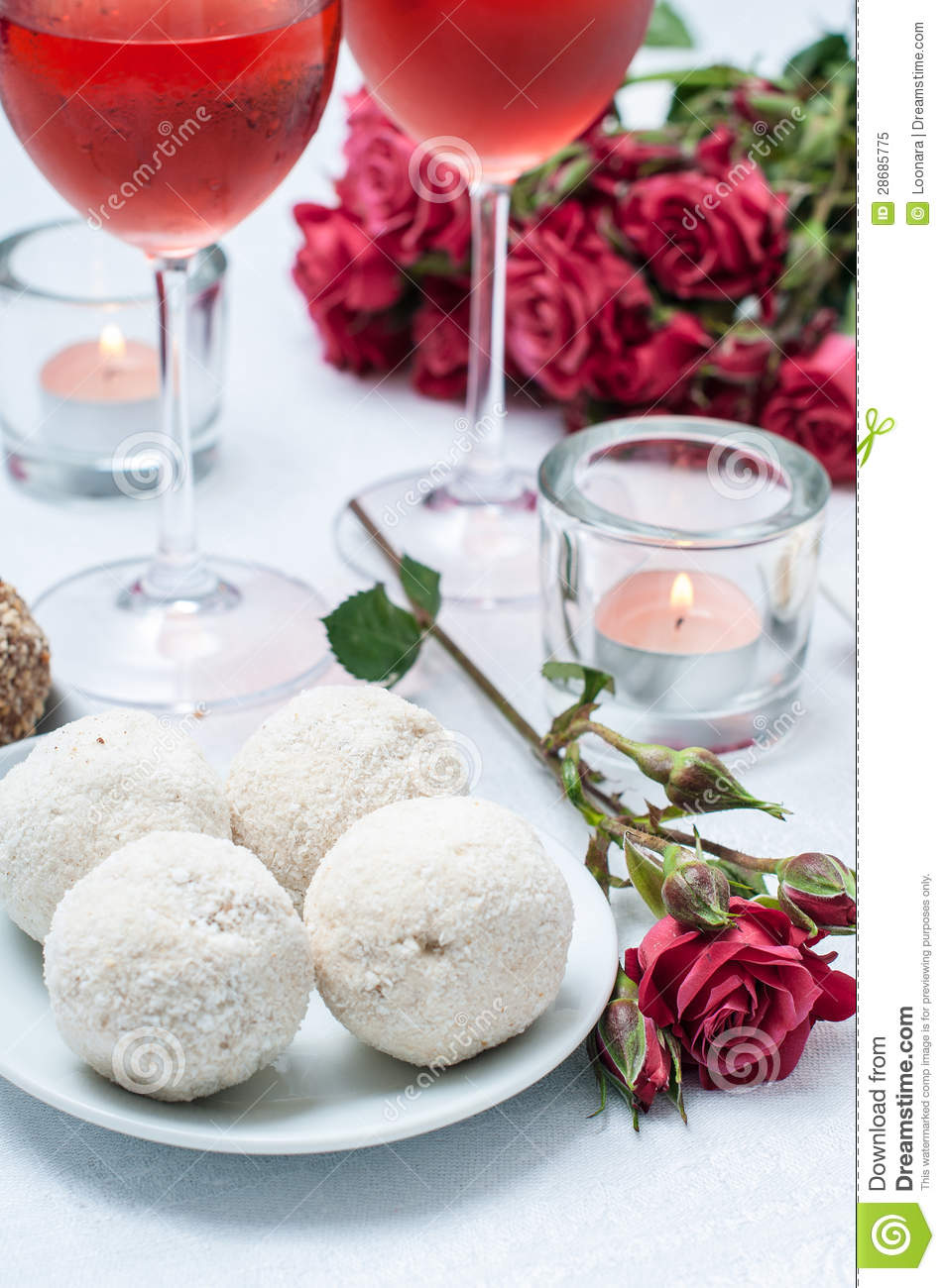 Coconut Cakes Flowers And Rose Wine Royalty Free Stock