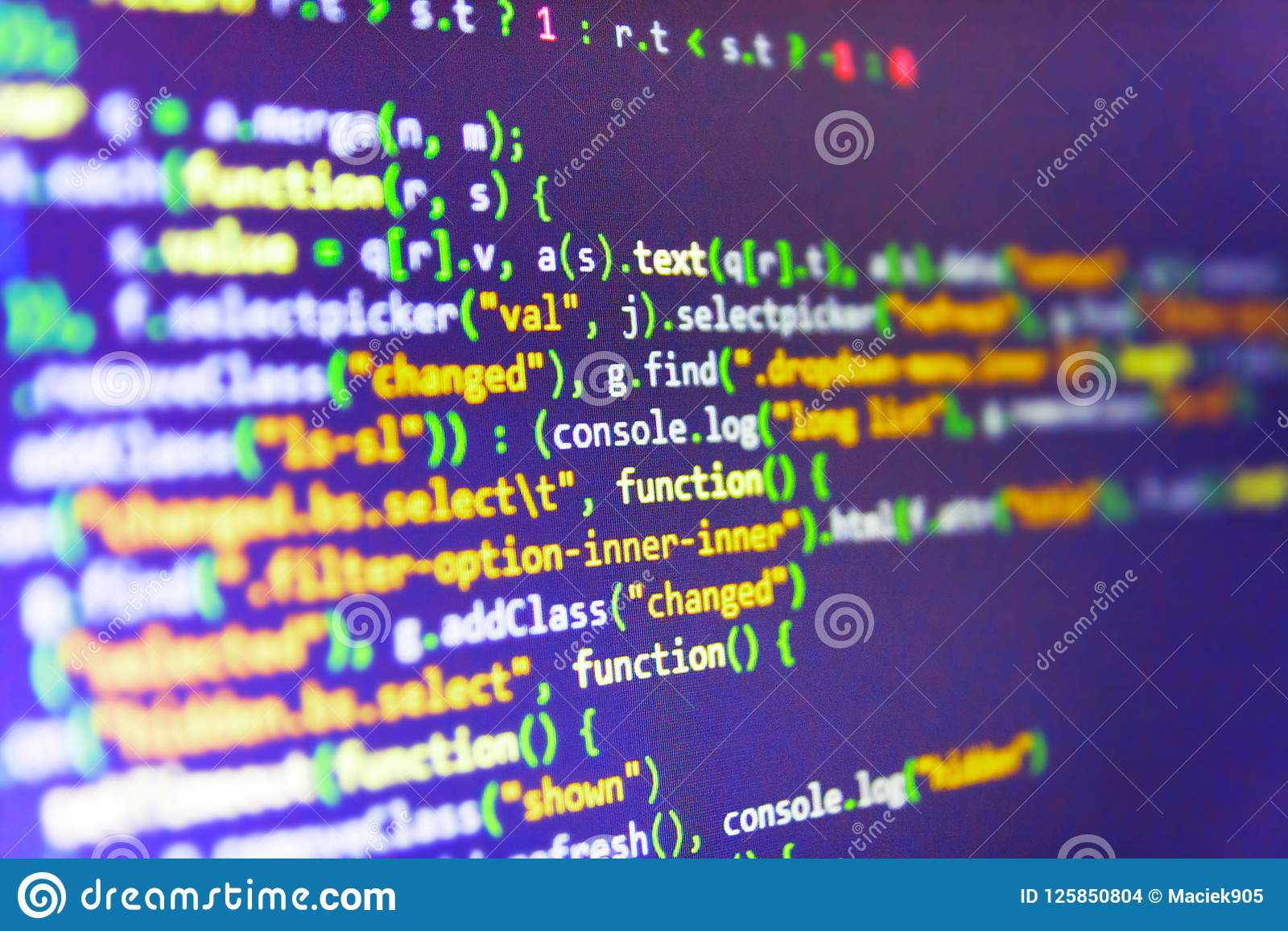 Programming Code On Computer Screen Stock Photo