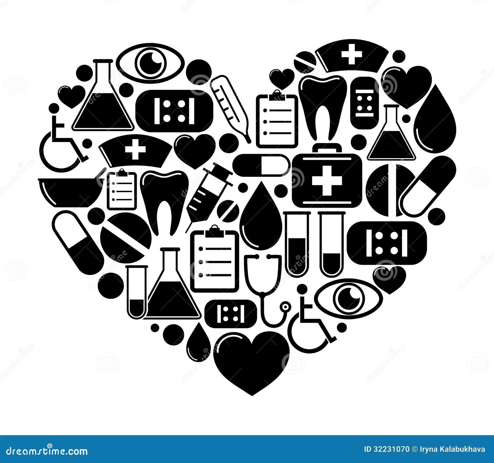 Coeur Des Icones Medicales Illustration De Vecteur