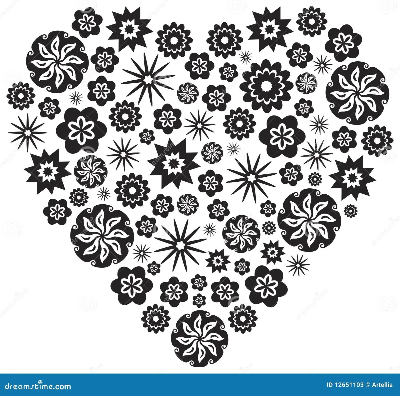 Coeur Fait De Fleurs En Noir Et Blanc Illustration De