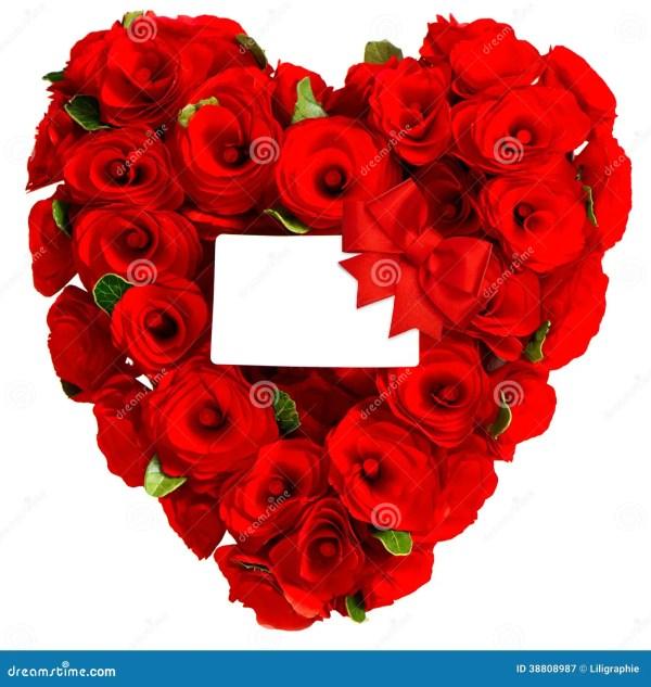Coeur Rouge Des Fleurs Roses Avec La Carte Blanche Image ...