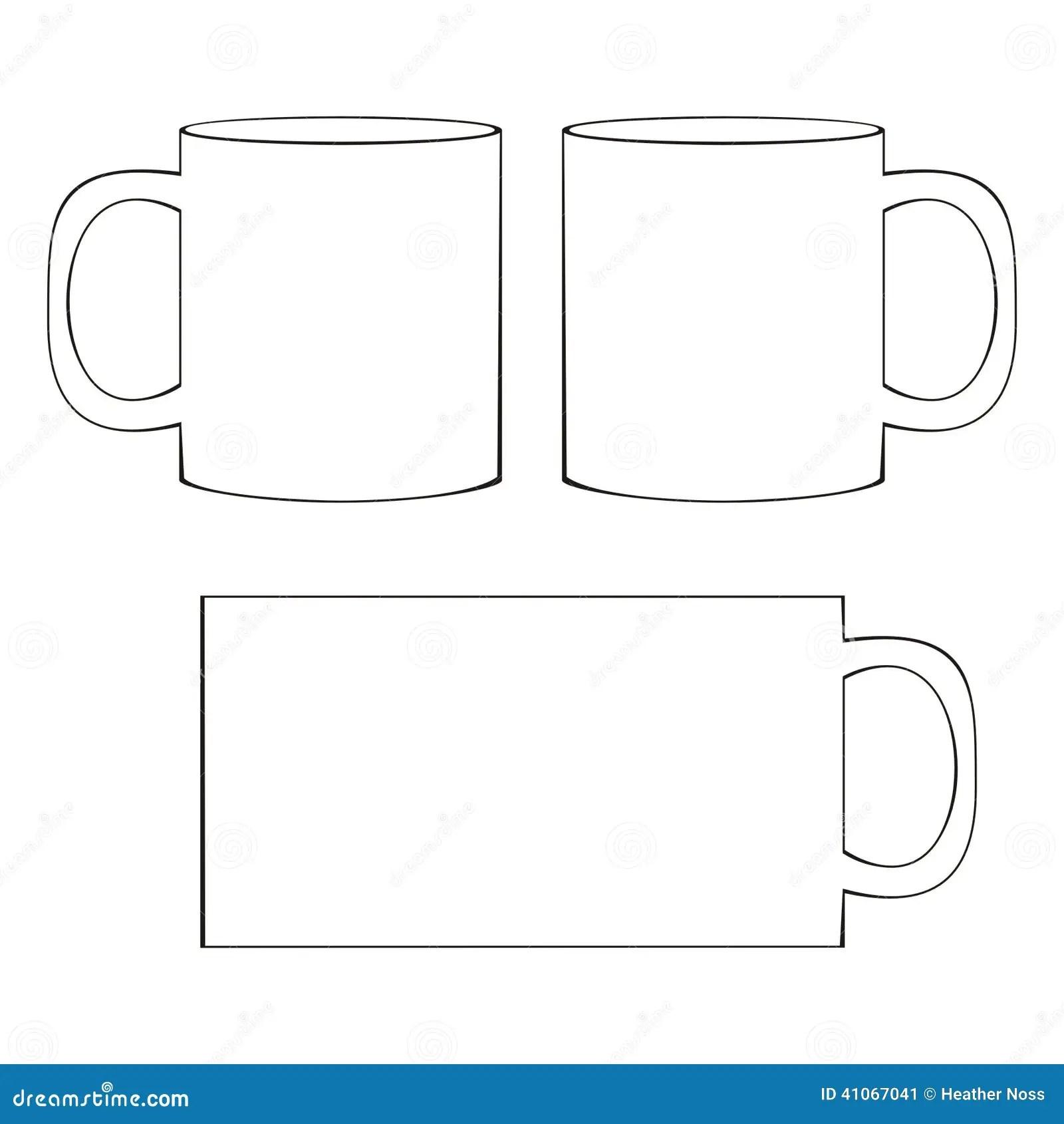 Coffee Mug Template Blank Cup Stock Vector